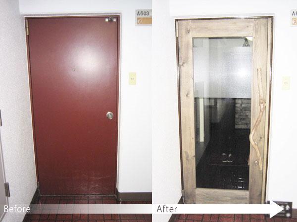 オフィスドア施工前後のイメージ